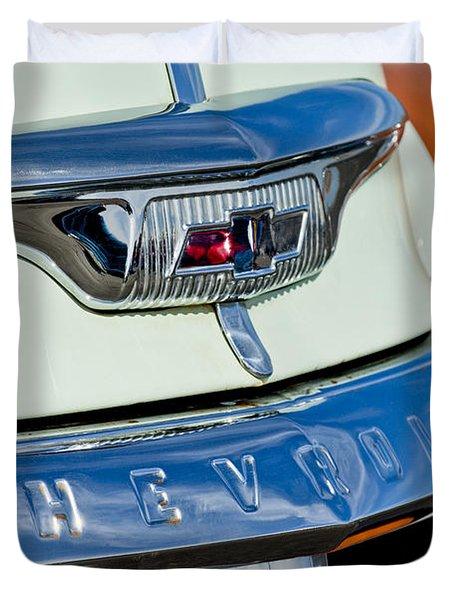 1954 Chevrolet Panel Truck Hood Emblem Duvet Cover by Jill Reger