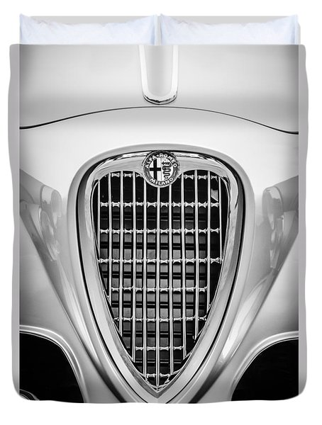 1955 Alfa Romeo 1900 Css Ghia Aigle Cabriolet Grille Emblem -0564bw Duvet Cover by Jill Reger