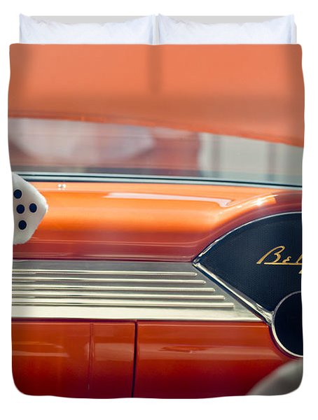 1955 Chevrolet Belair Dashboard Duvet Cover by Jill Reger