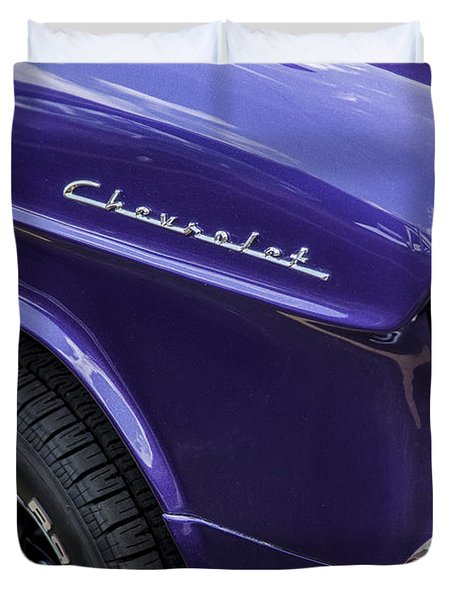 1955 Chevrolet Purple Monster Duvet Cover