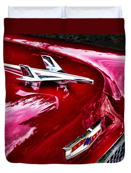 1955 Chevy Bel Air Hood Ornament Duvet Cover by Peggy Collins