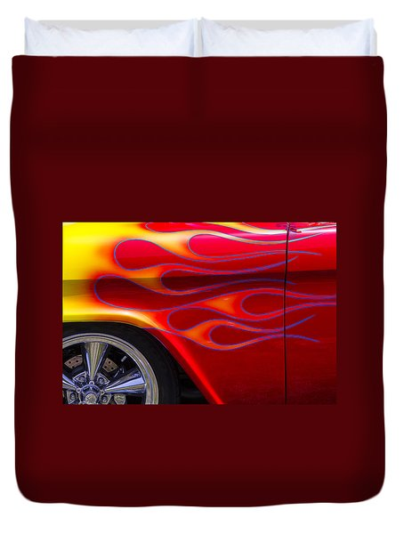 1955 Chevy Pickup With Flames Duvet Cover