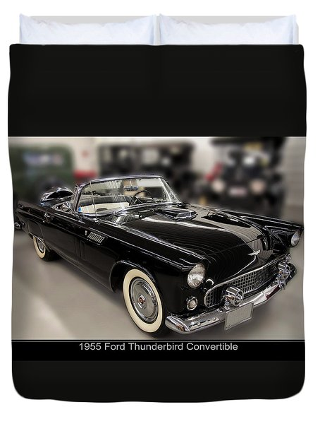 1955 Ford Thunderbird Convertible Duvet Cover by Chris Flees