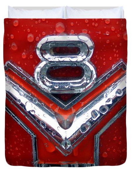 1955 Ford V8 Emblem Duvet Cover