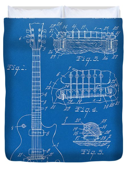 Duvet Cover featuring the digital art 1955 Mccarty Gibson Les Paul Guitar Patent Artwork Blueprint by Nikki Marie Smith