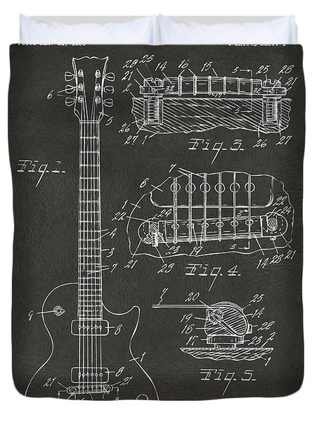 Duvet Cover featuring the digital art 1955 Mccarty Gibson Les Paul Guitar Patent Artwork - Gray by Nikki Marie Smith