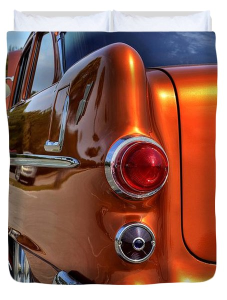 Duvet Cover featuring the photograph 1955 Pontiac by Kathy Baccari