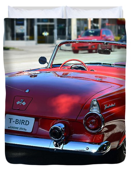 1955 T-bird Duvet Cover by Laura Fasulo