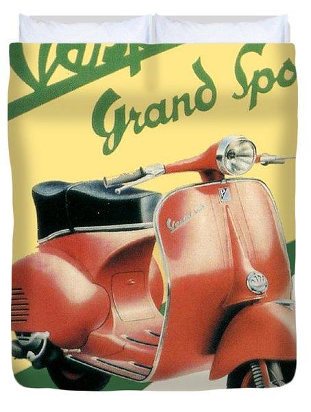 1955 - Vespa Grand Sport Motor Scooter Advertisement - Color Duvet Cover