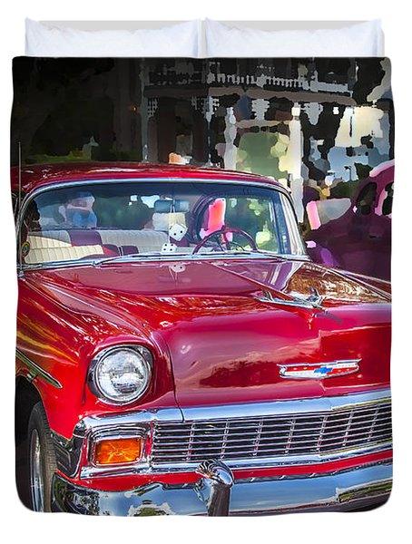 1956 Chevrolet Bel Air 210 Red Duvet Cover