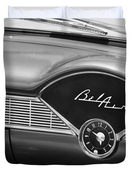 1956 Chevrolet Bel Air Convertible Painted Bw Duvet Cover