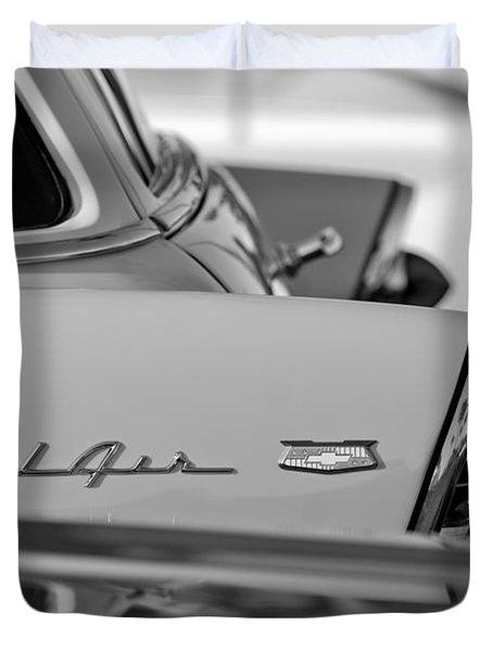 1956 Chevrolet Belair Nomad Rear End Emblem Duvet Cover by Jill Reger
