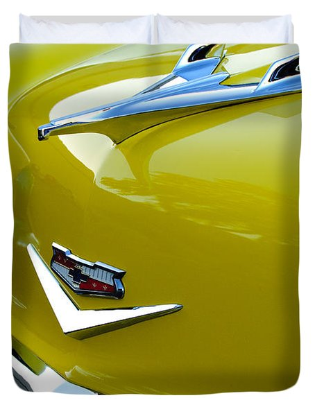1956 Chevrolet Hood Ornament 3 Duvet Cover by Jill Reger