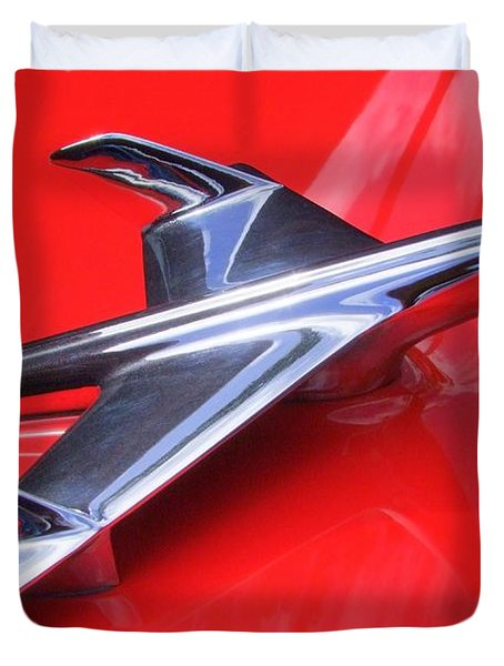 1956 Chevy Hood Ornament Duvet Cover by Mary Deal