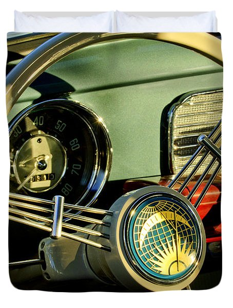 1956 Volkswagen Vw Bug Steering Wheel 2 Duvet Cover by Jill Reger