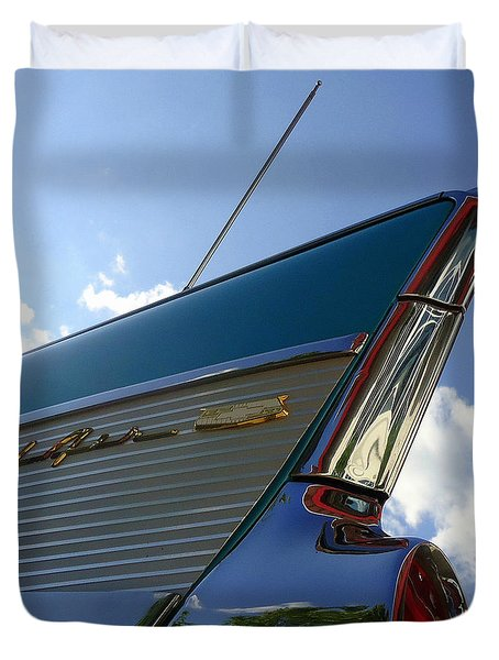 1957 Chevrolet Bel Air Fin Duvet Cover