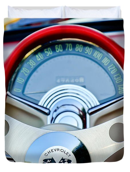 1957 Chevrolet Corvette Convertible Steering Wheel Duvet Cover
