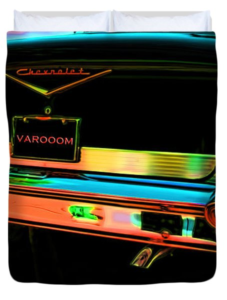 1957 Chevy Art Red Varooom Duvet Cover