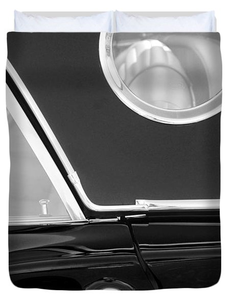 1957 Ford Thunderbird Window Black And White Duvet Cover