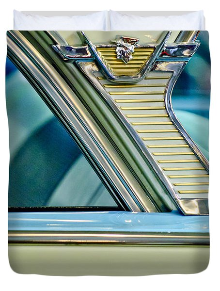 1957 Mercury Monterey Sedan Emblem Duvet Cover
