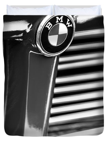 1958 Bmw 3200 Michelotti Vignale Roadster Grille Emblem -2414bw Duvet Cover by Jill Reger