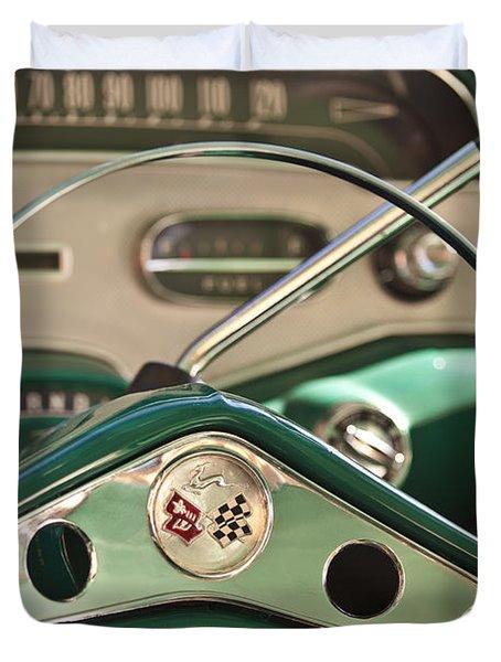1958 Chevrolet Impala Steering Wheel Duvet Cover