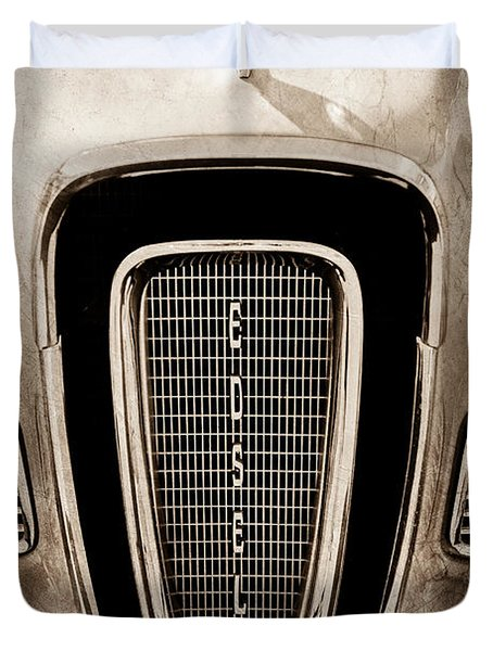 1958 Edsel Pacer Grille Emblem - Hood Ornament Duvet Cover