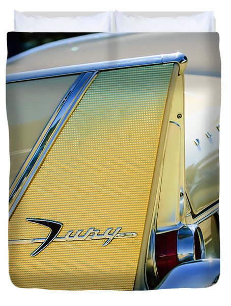 1958 Plymouth Fury Golden Commando Taillight Emblem -3447c Duvet Cover