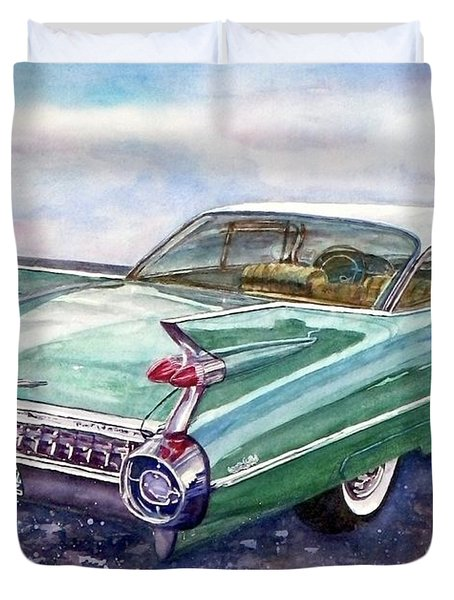 Duvet Cover featuring the painting 1959 Cadillac Cruising by Anna Ruzsan