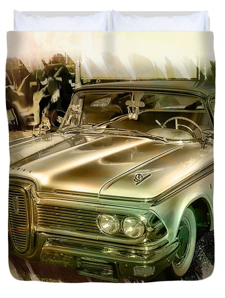 Duvet Cover featuring the photograph 1959 Edsel by Ericamaxine Price