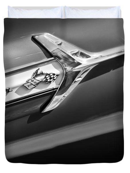 1960 Chevrolet Impala Side Emblem Duvet Cover by Jill Reger