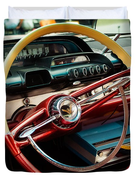 1960 Desoto Fireflite Coupe Steering Wheel And Dash Duvet Cover