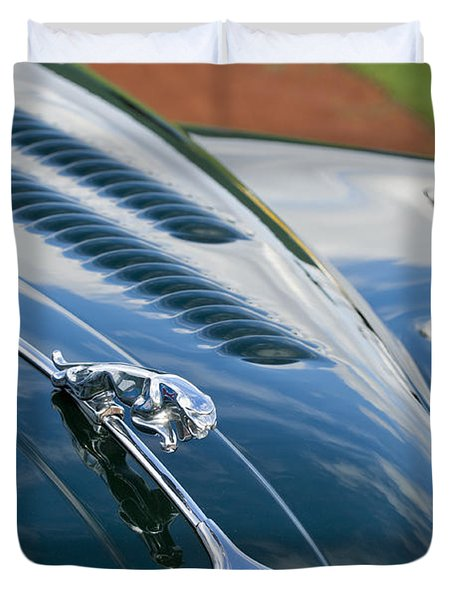 1960 Jaguar Xk 150s Fhc Hood Ornament 3 Duvet Cover by Jill Reger