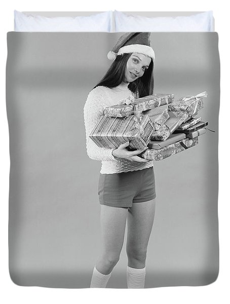 1960s 1970s Young Woman Wearing Santa Duvet Cover