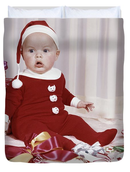 1960s Amazed Baby In Santa Suit Sitting Duvet Cover