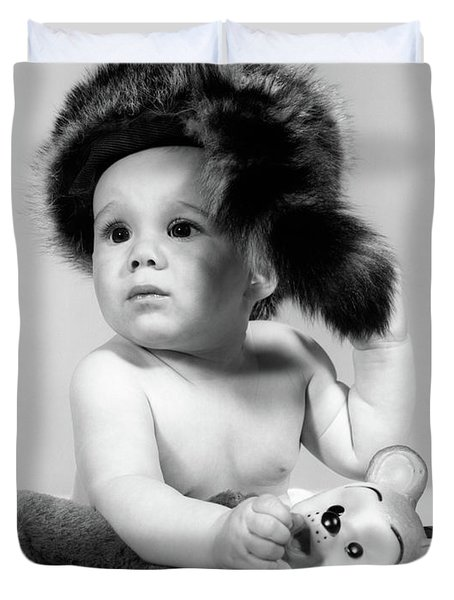 1960s Baby Wearing Coonskin Hat Duvet Cover