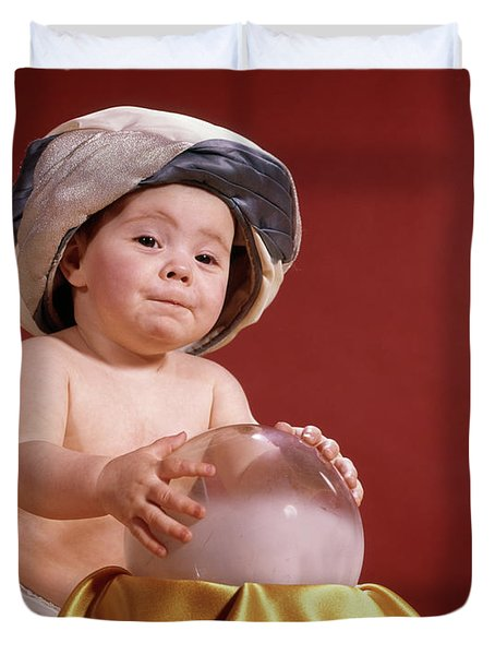 1960s Baby With Fortune Teller Turban Duvet Cover