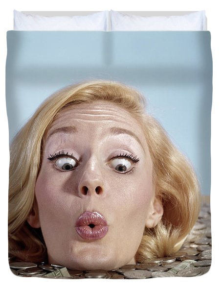 1960s Blond Woman Funny Facial Duvet Cover