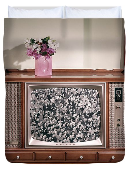 1960s Large Console Television Duvet Cover