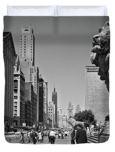 1960s People Pedestrians Street Scene Duvet Cover