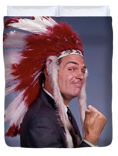 1960s Smug Man Wearing Native American Duvet Cover