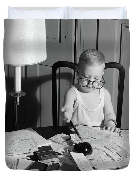 1960s Young Boy At Desk Wearing Glasses Duvet Cover