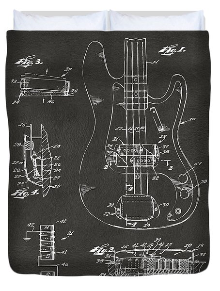 1961 Fender Guitar Patent Artwork - Gray Duvet Cover
