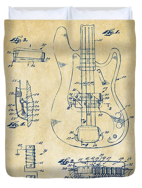 1961 Fender Guitar Patent Artwork - Vintage Duvet Cover