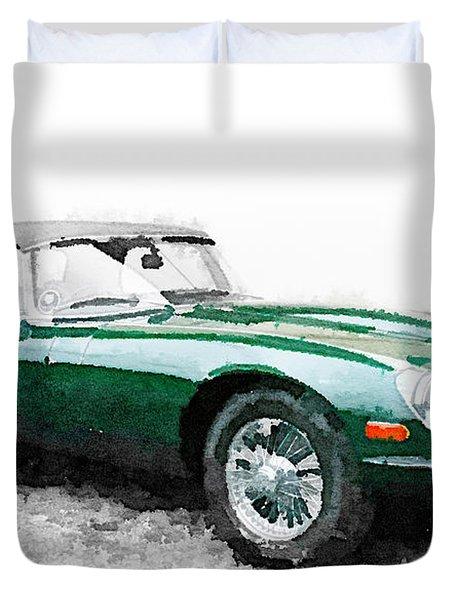 1961 Jaguar E-type Watercolor Duvet Cover