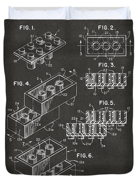1961 Toy Building Brick Patent Art - Gray Duvet Cover by Nikki Marie Smith