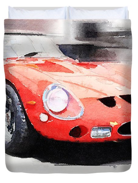 1962 Ferrari 250 Gto Watercolor Duvet Cover