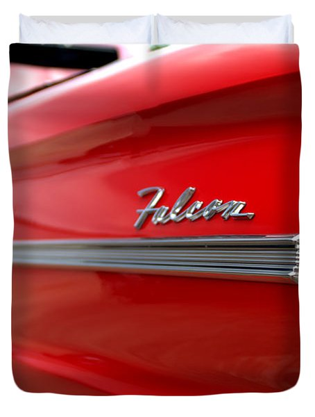 1963 Ford Falcon Name Plate Duvet Cover by Brian Harig