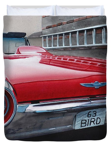 1963 Ford Thunderbird Duvet Cover by Paul Kuras