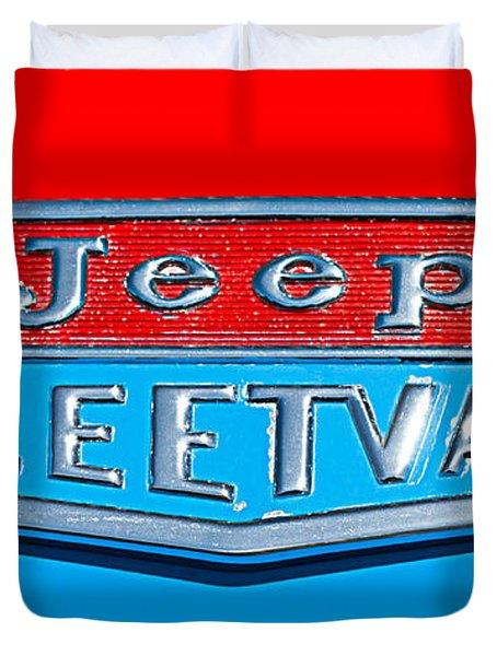 1963 Jeep Fleetwood Emblem Duvet Cover by Jill Reger